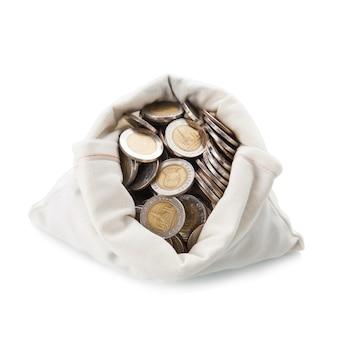 Деньги сумка на белом фоне