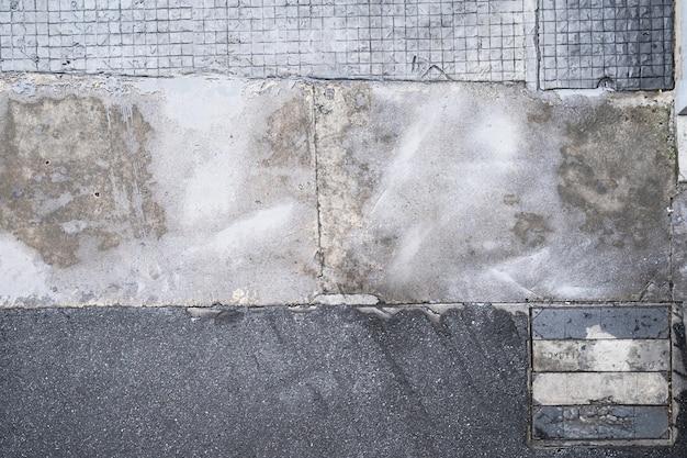 Вид сверху бетонного покрытия, текстуры поверхности тротуара