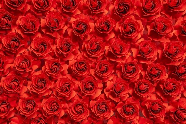 紙の花、紙、結婚式の装飾、抽象的な花の背景からカット赤いバラ