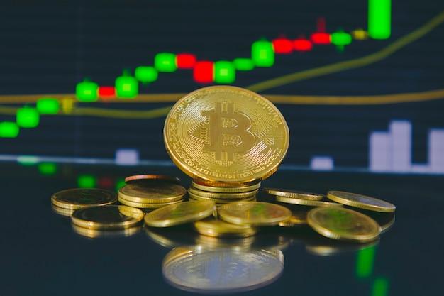 ゴールデンビットコインのクローズアップ