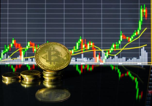 ガラスの床にタブレットの株価チャートの前にゴールデンビットコイン。