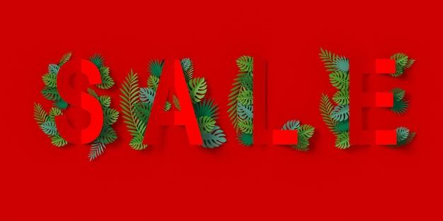 紙を切った赤いセールのバナーと緑の葉ペーパークラフトの花