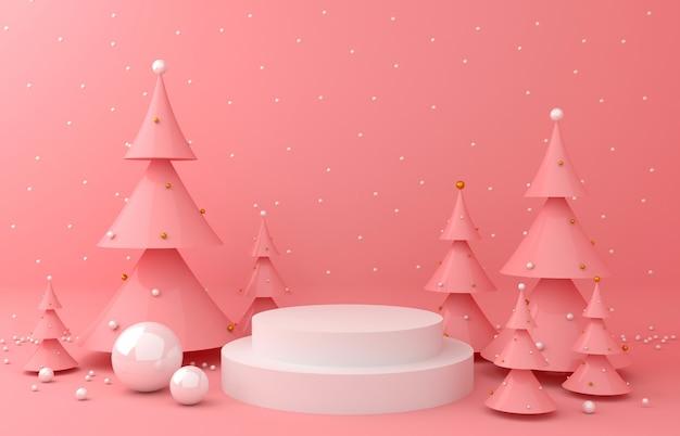 製品のプレゼンテーション用に背景とピンクの松を表示する
