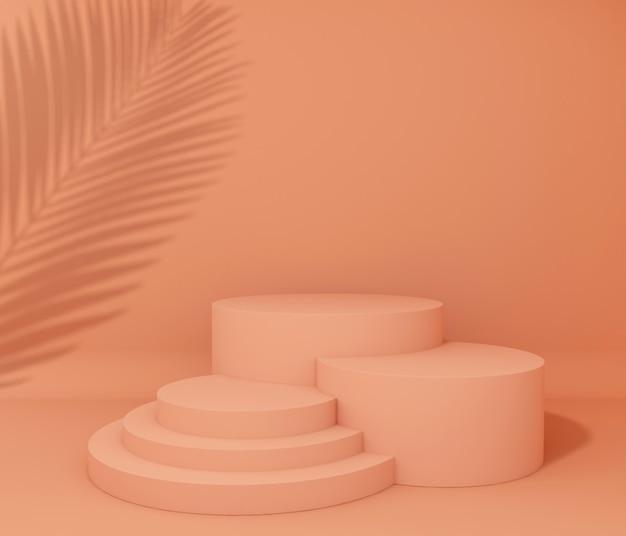 製品プレゼンテーション用の表彰台、熱帯の木の影