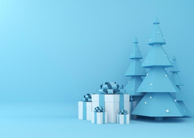 クリスマスツリーとギフトボックスまたは青色の背景に存在