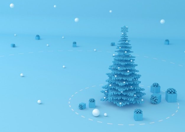 Рождественская елка и подарочная коробка