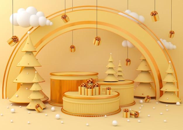 製品プレゼンテーション、クリスマスツリーの背景を表示する