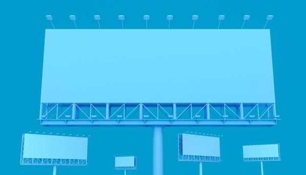 青い色の屋外広告の看板ブランク