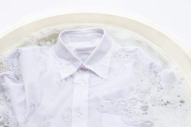 洗濯する前に布を浸す