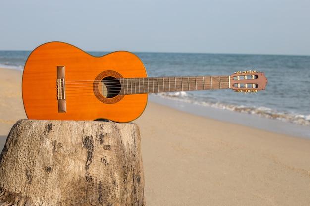砂のビーチでギター美しい夏に