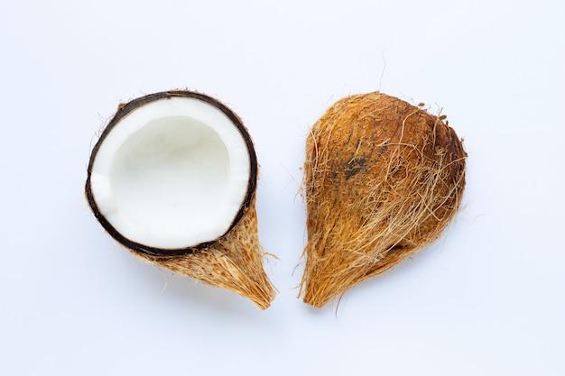 白熟したココナッツ。トロピカルフルーツの平面図です。