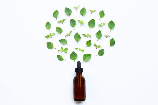 Эфирное масло со свежими орегано листья на белом.