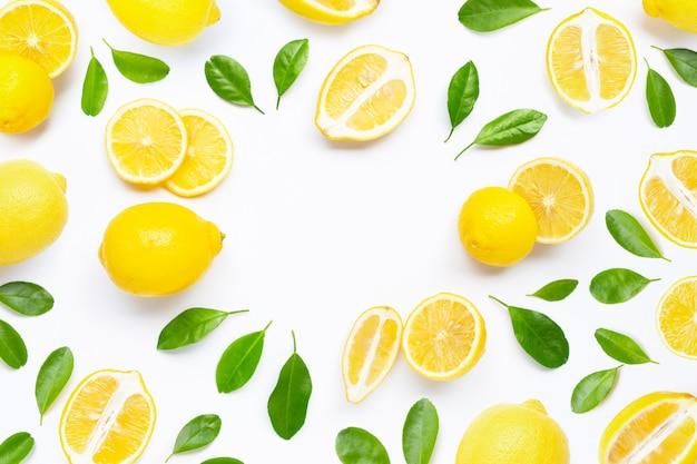 白地に緑の葉と新鮮なレモン