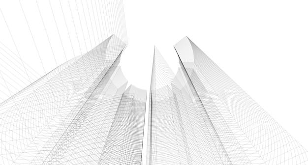 抽象的な建築図面のスケッチ