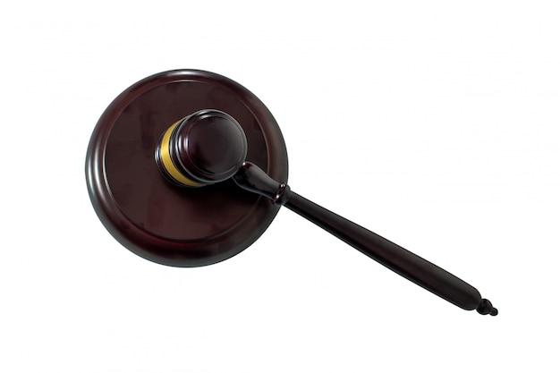 裁判官の小槌と白で隔離される響板