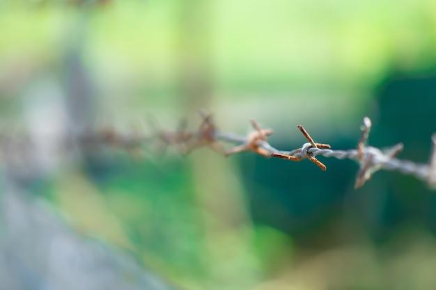 屋外用さびた有刺鉄線のフェンス