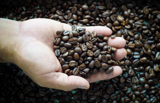 手に焙煎コーヒー豆