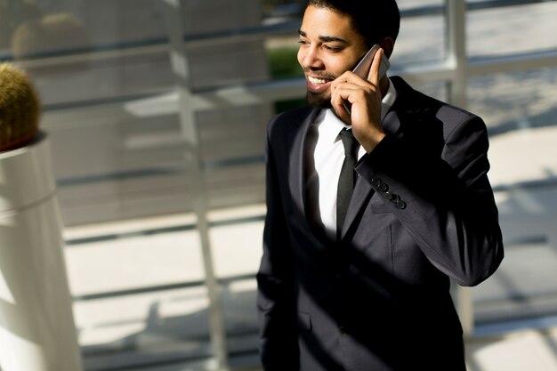 若い、黒、男、電話、オフィス