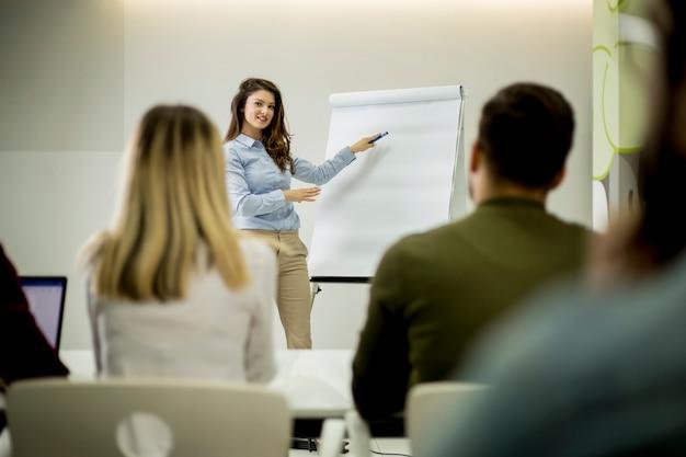 Творческий позитивный лидер женского пола, говорящий о бизнес-плане со студентами во время семинара