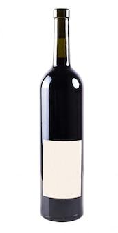 分離された白い空白のラベルとワインのボトル