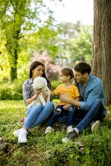 美しい幸せな家族は屋外の木の下でマルチーズ犬を楽しんでいます。