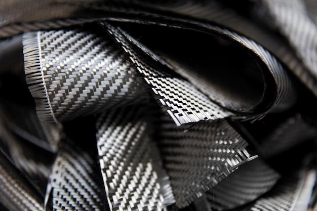 Макрофотография деталей из углеродных волокон