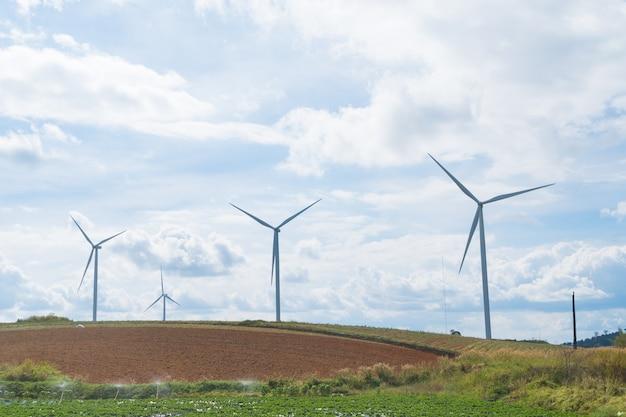 牧草地の風力タービン