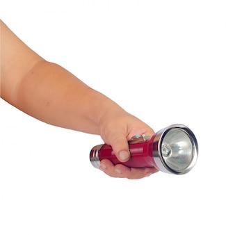 ビンテージフラッシュライトまたは白の手にランプ。