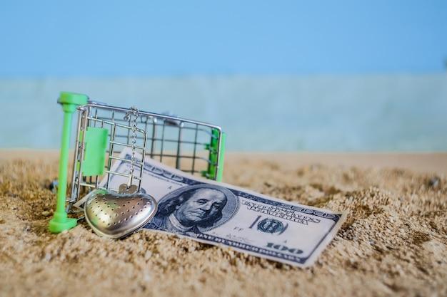 Падение магазинной тележкаи на тропическом пляже песка с банкнотой.