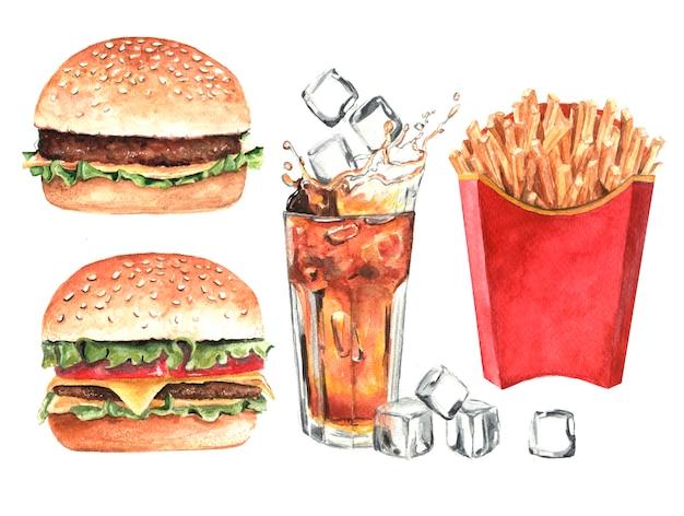 ファーストフードセット。ハンバーガー、ホットドッグ、コーラのガラス。分離された水彩手描きイラスト