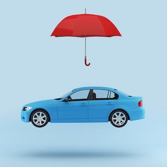 Синий автомобиль защищен красным зонтиком, значок безопасности автомобиля изолированы. минимальная концепция.