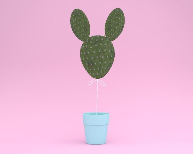 創造的なアイデアレイアウトパステルピンクの背景に花のポットを持つサボテンウサギ。最小のアイデア