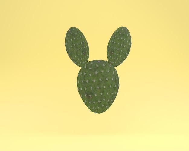 創造的なレイアウトサボテン、黄色の背景に浮かぶウサギ