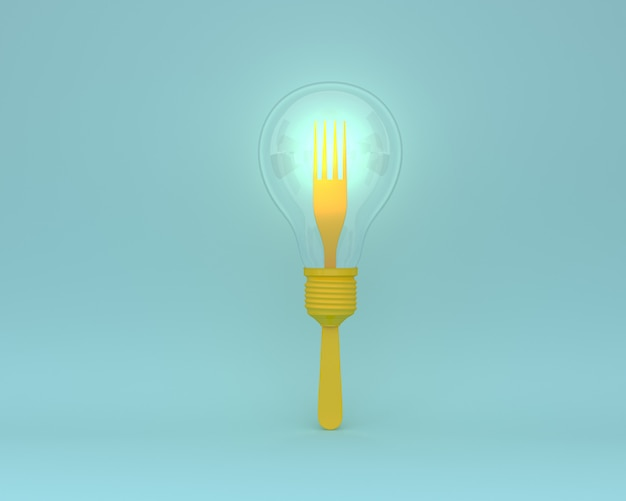 青色に輝く黄色の電球とフォークで作られた創造的なレイアウト。最小コンセプト