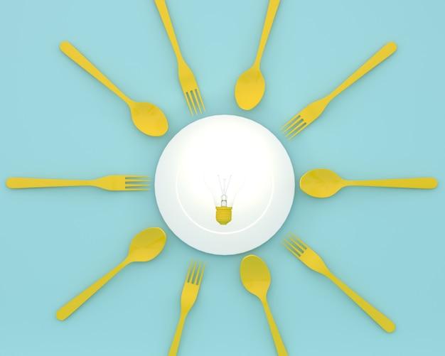 青色のスプーンとフォークでプレートに輝く黄色の電球のクリエイティブ。最小