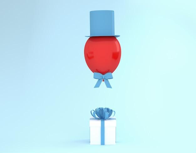 青いリボンと青い背景に帽子とバルーンの白いギフトボックス。