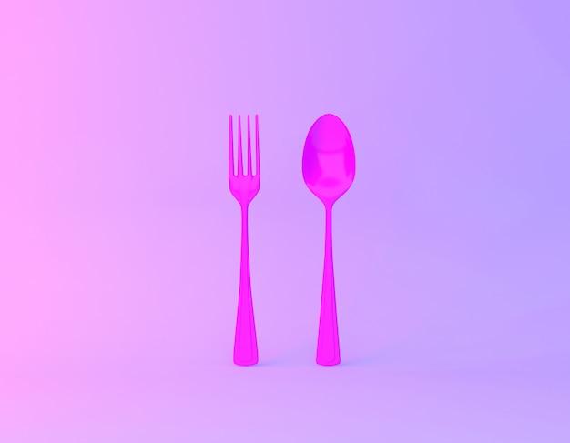活気に満ちた大胆なグラデーションの紫と青のホログラフィックカラーの背景のスプーンとフォークで作られた創造的なアイデアのレイアウト。