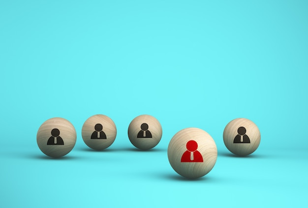 人的資源管理と採用ビジネス従業員概念の概念の創造的なアイデア。木製の球体を配置する