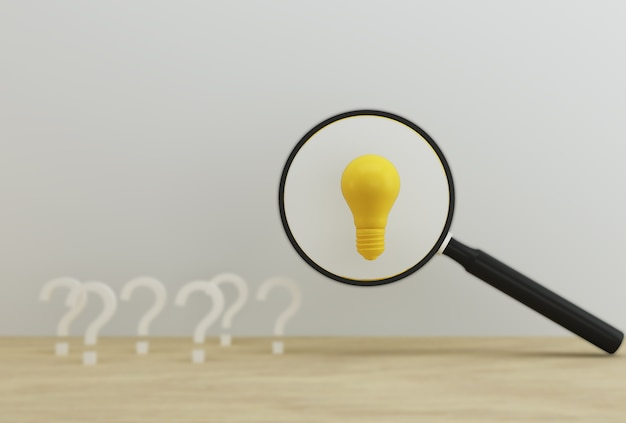 疑問符の付いたアイデアを明らかにする電球付きの虫眼鏡
