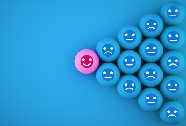 顔の感情の幸福と悲しみの要約、ユニーク、異なると思う、個々の、群衆から目立つ。青い背景上のアイコンと球状。