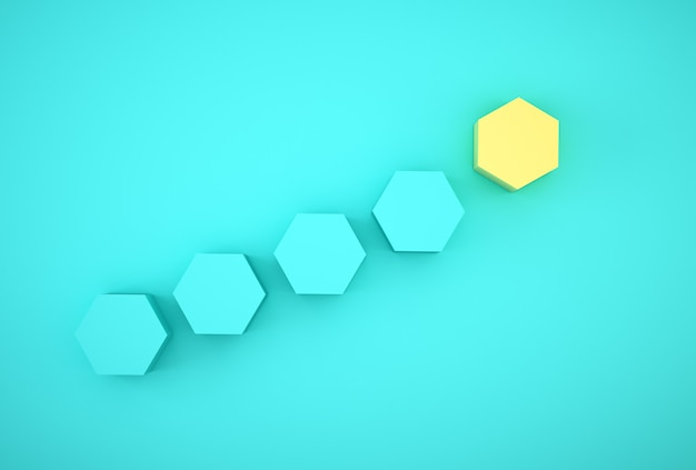 Абстрактное фото наших стоящих желтых похожих на улья шестиугольников среди голубых шестиугольников на голубой предпосылке. минимальный бизнес.