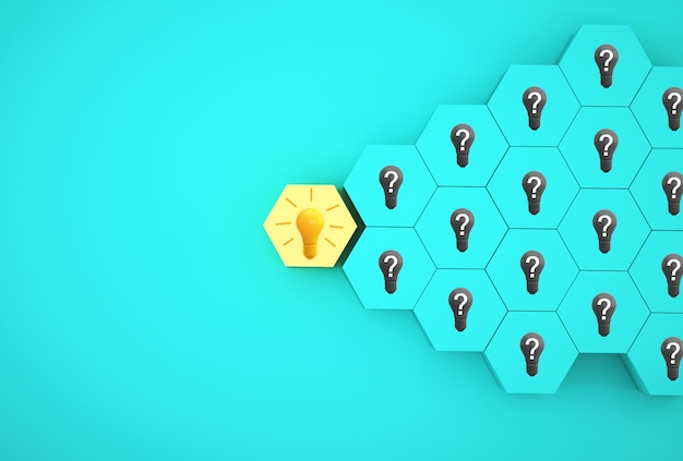 最小限の創造的なアイデアと革新。青色の背景に異なる質問記号と六角形のアイデアを明らかにする電球。