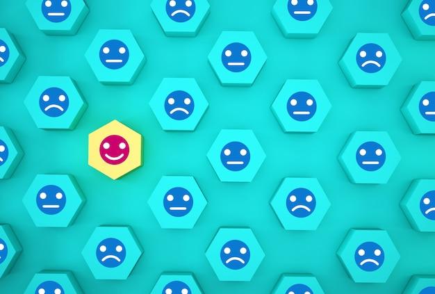 顔の感情の幸福と悲しみの要約、ユニーク、異なると思う、個々の、群衆から目立つ。青い背景上のアイコンと木製の六角形。