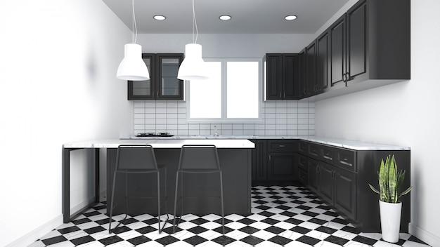 家具付きのモダンなキッチンインテリア。