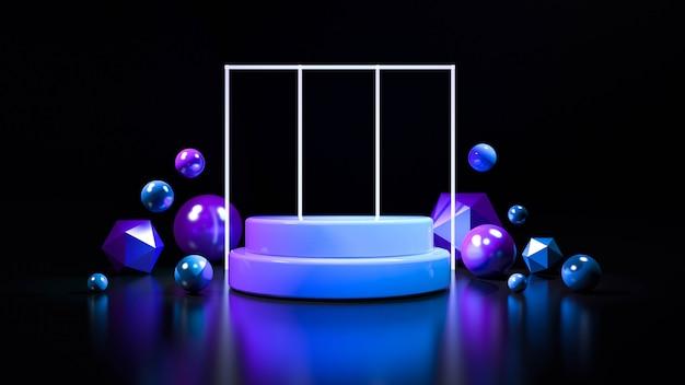 サークルステージネオンライト。抽象的な未来的な背景