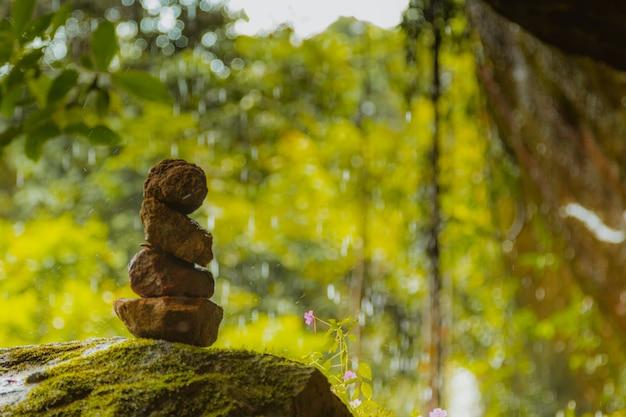 バランスと調和の概念。自然の上の岩