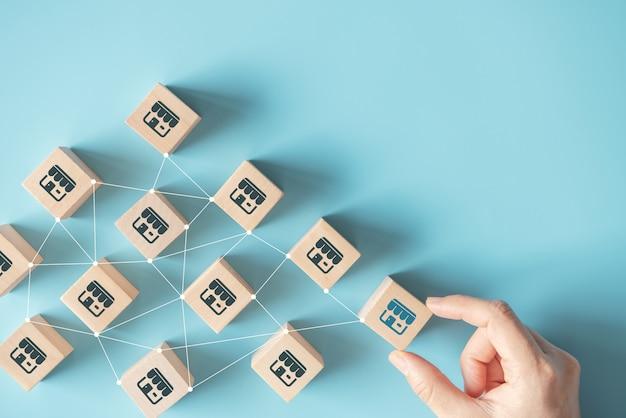 Рука женщины выбирает деревянный блог с системой маркетинга франшизы в соединении глобальной сети.