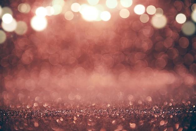 キラキラビンテージライトは、新年の休日の背景を抽象化します。コピースペース。