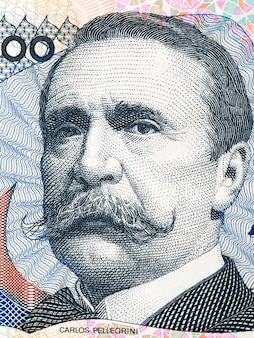 アルゼンチンのお金からカルロスペレグリーニイラスト