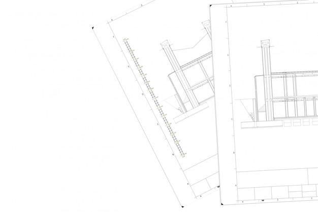 白い紙の上の建築プロジェクトの部分計画